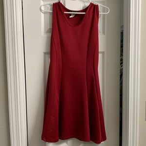 French atmosphere red skater dress